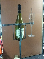 Garden wine bottle and glass holder groung stake